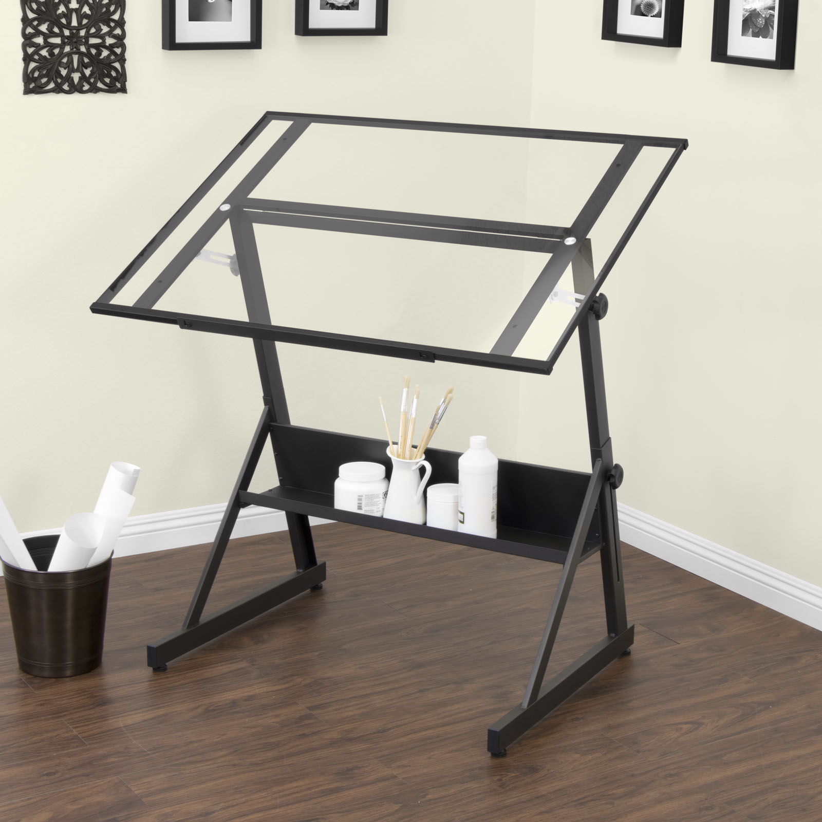 Adjustable Height Drafting Table Solano Height Adjustable Drafting Table Black Clear Glass Item