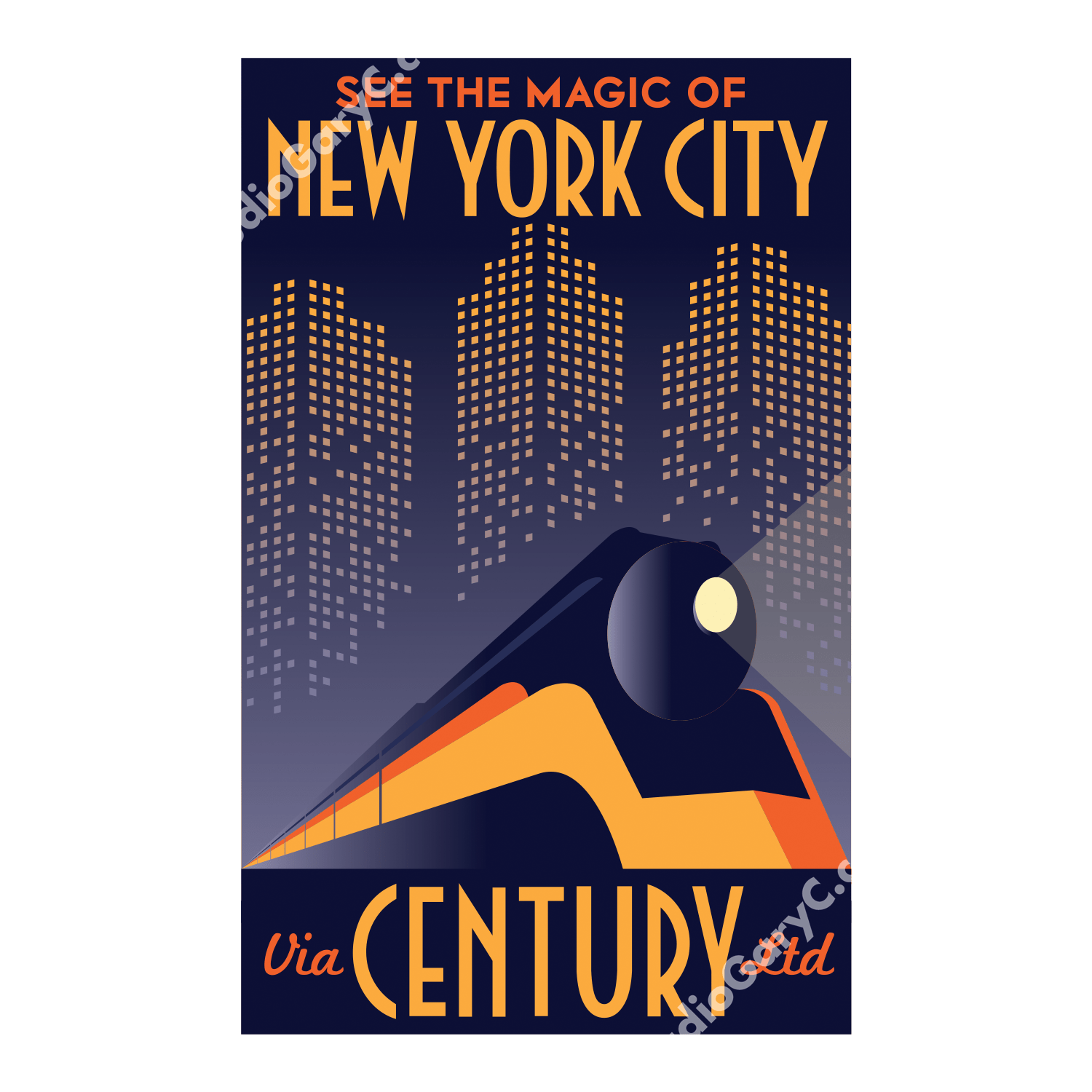 Deco Poster Art Deco New York City Train Travel Poster