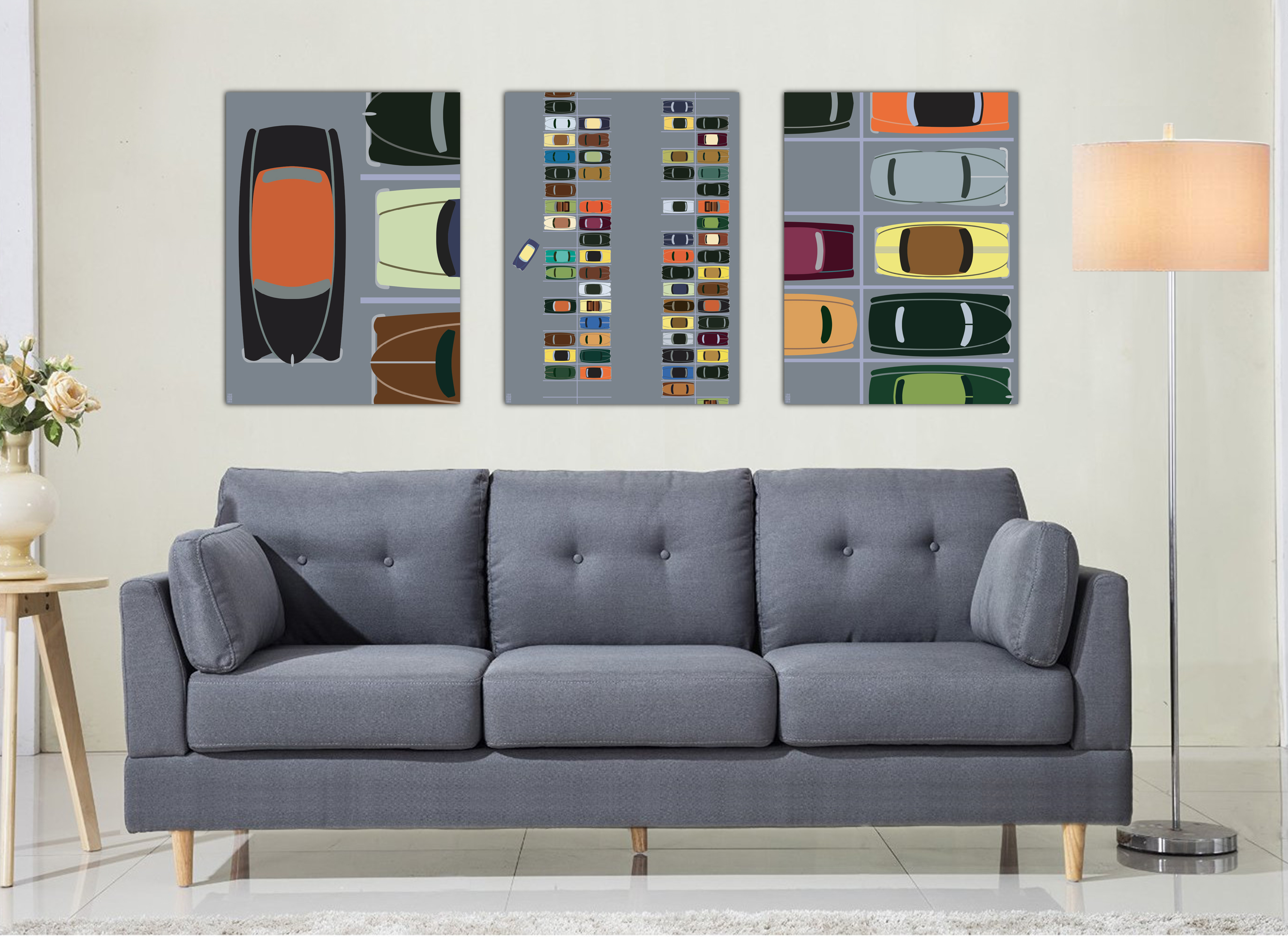Auto Couch Mid Century Modern Auto Parking Lot Triptych Print Set