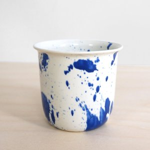 C05-3  FRONT splash coffee or tea cup - indigo cup - splatter - espresso cup - porcelain expresso