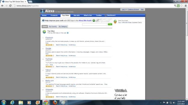 Alexa.com Top Sites screenshot