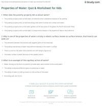 Properties of Water: Quiz & Worksheet for Kids | Study.com