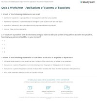 Quiz & Worksheet - Applications of Systems of Equations ...