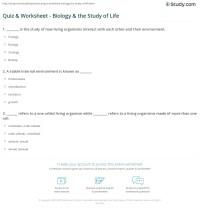 Quiz & Worksheet - Biology & the Study of Life | Study.com