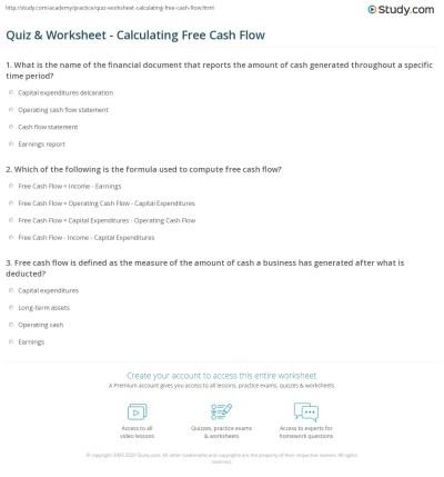 Quiz & Worksheet - Calculating Free Cash Flow | Study.com