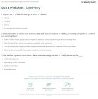 Quiz & Worksheet - Calorimetry | Study.com