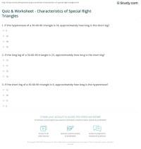 Quiz & Worksheet - Characteristics of Special Right ...