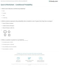 Quiz & Worksheet - Conditional Probability | Study.com