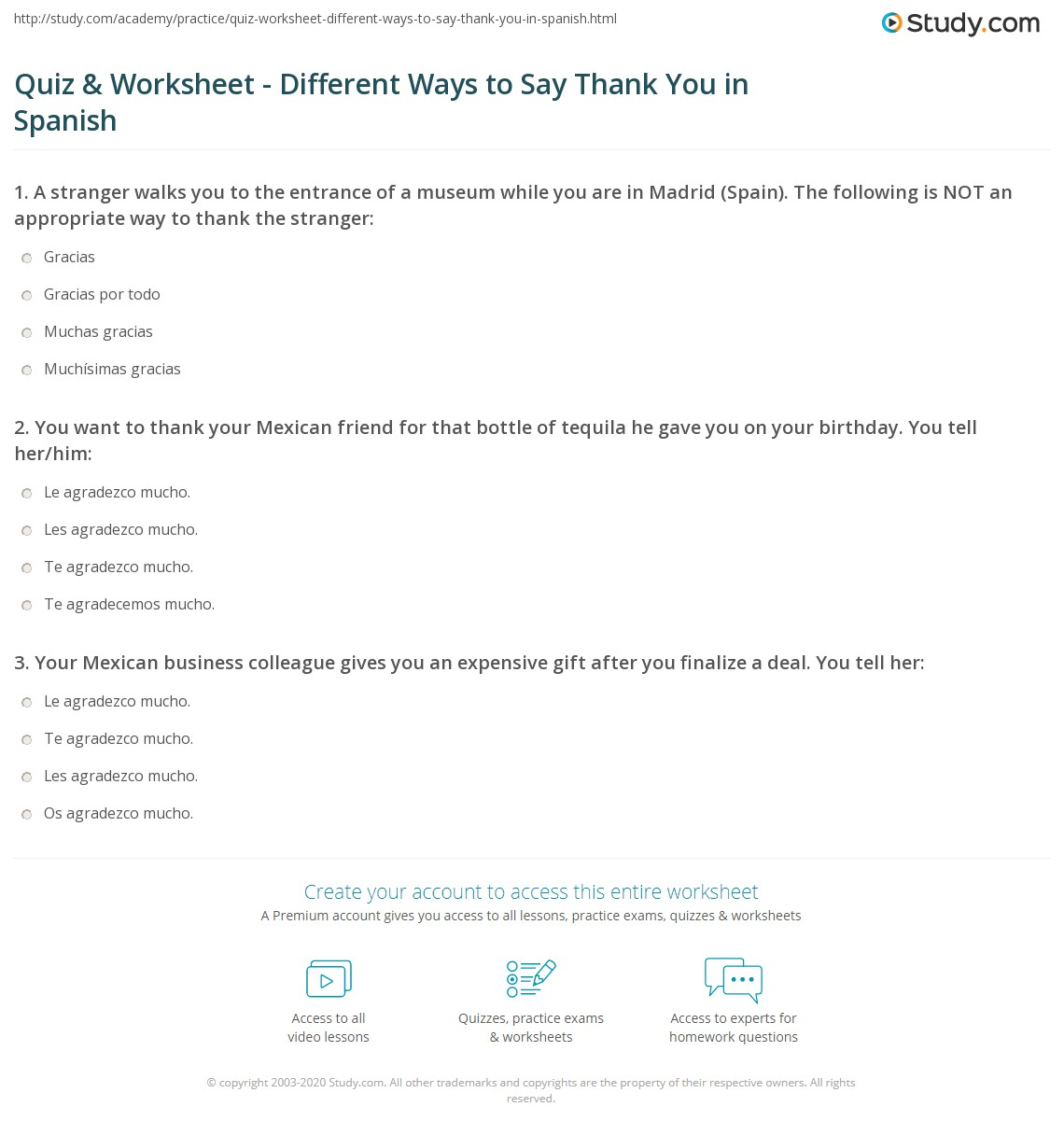 Outstanding Thank You Spanish Thank You Ma Spanish Spanish Spanish Worksheet Quiz Worksheet Different Ways To Say Thank You Print Different Ways To Say Thank You inspiration Spanish For Thank You