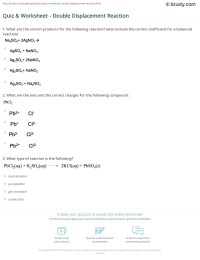 Chemistry Worksheet Double Replacement Reactions