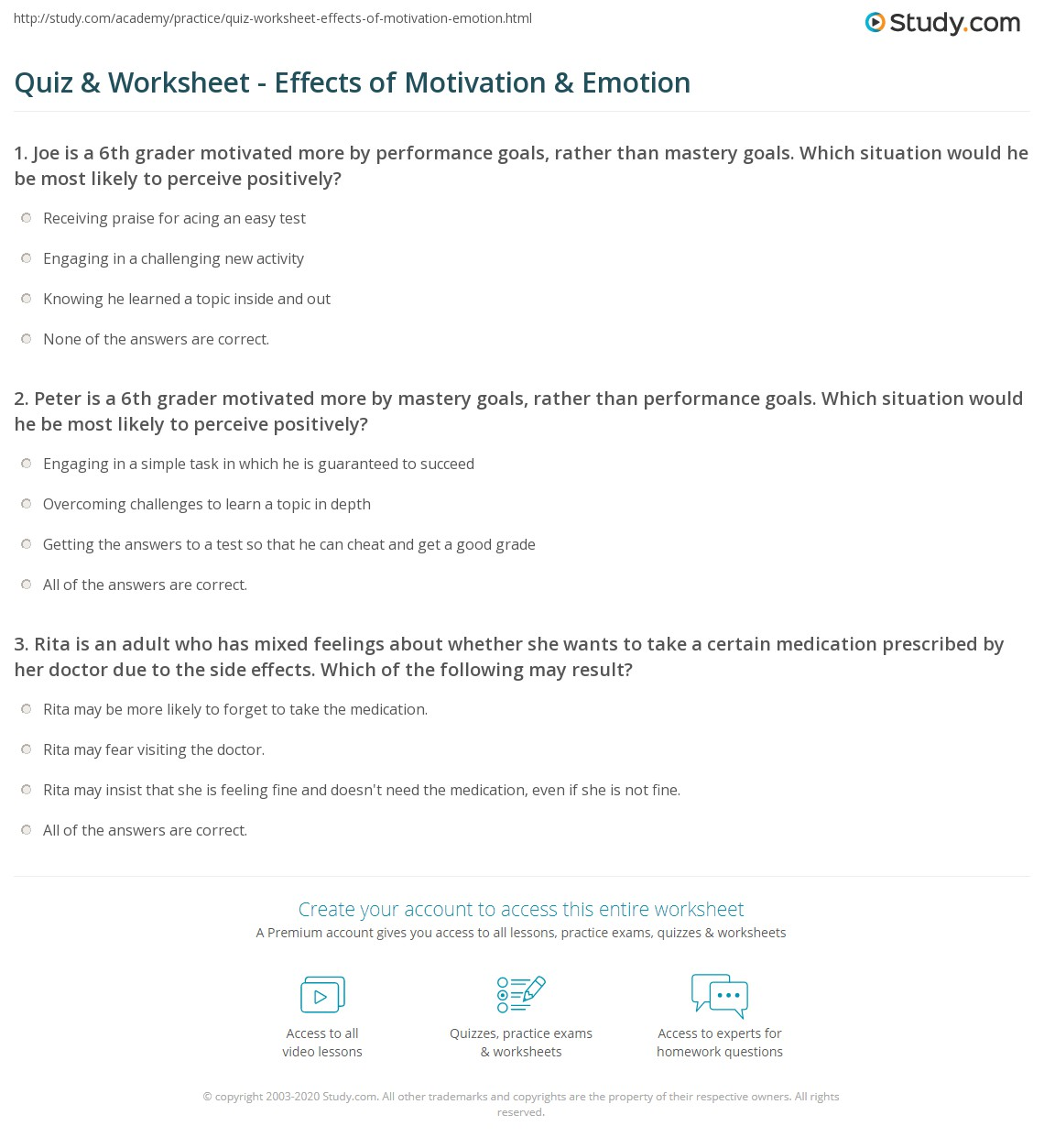 motivation and emotion worksheet my perfect resume phone number