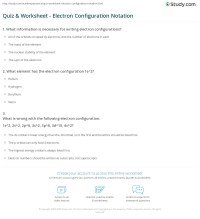Quiz & Worksheet - Electron Configuration Notation   Study.com