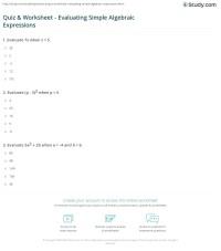 Quiz & Worksheet - Evaluating Simple Algebraic Expressions ...