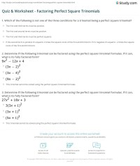 Quiz & Worksheet - Factoring Perfect Square Trinomials ...