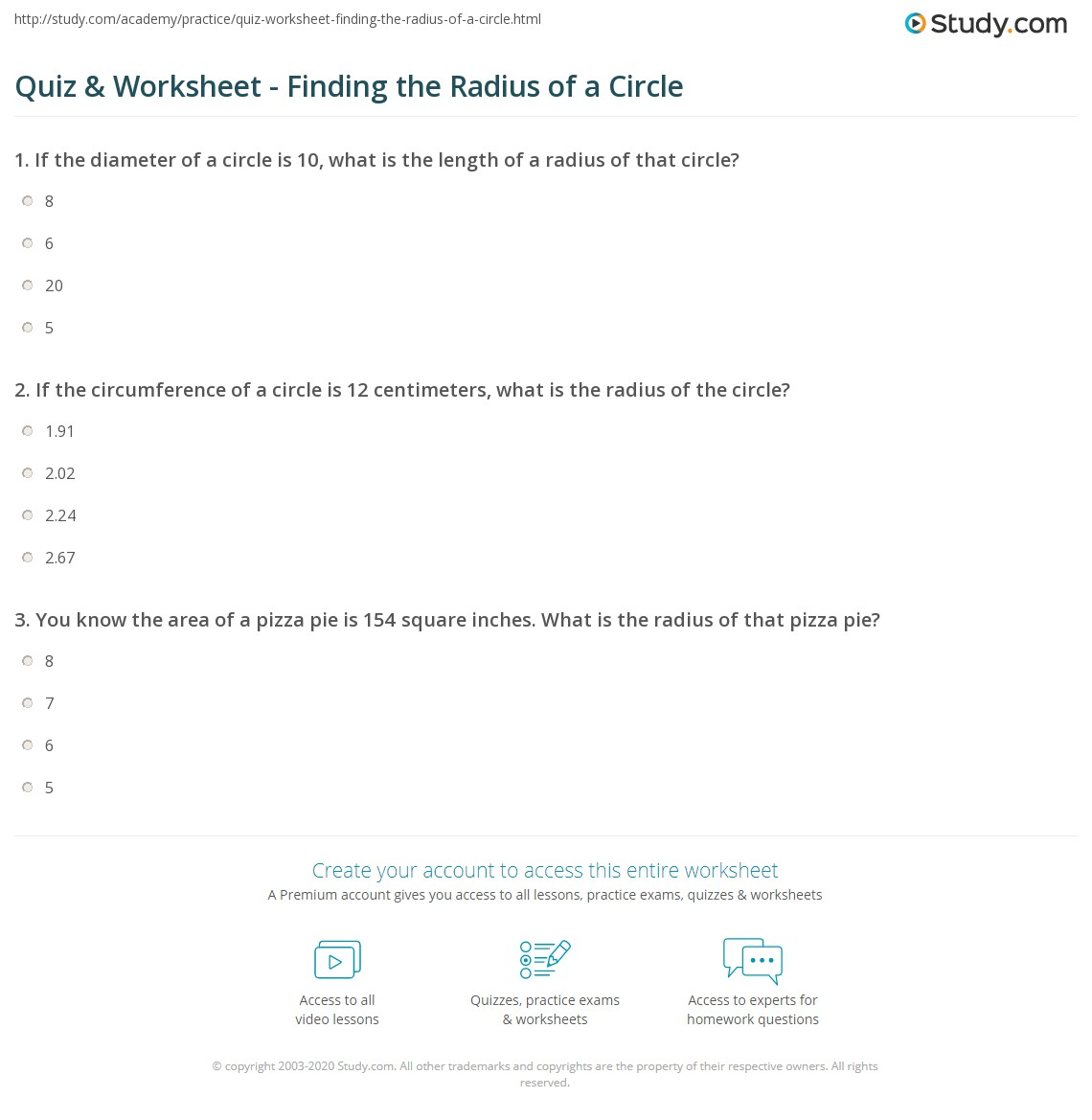Print How To Find The Radius Of A Circle Definition Formula Worksheet