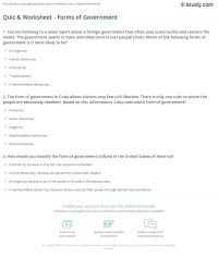 Quiz & Worksheet - Forms of Government | Study.com