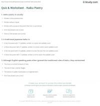 Quiz & Worksheet - Haiku Poetry   Study.com
