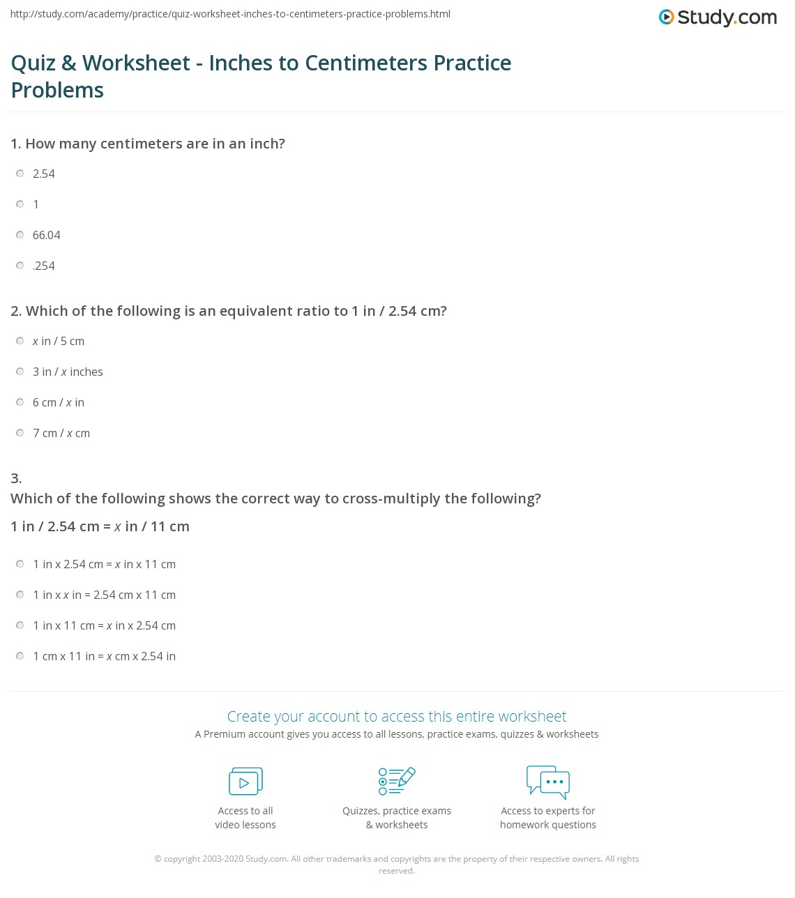 Ich Cm Quiz & Worksheet - Inches To Centimeters Practice Problems | Study.com