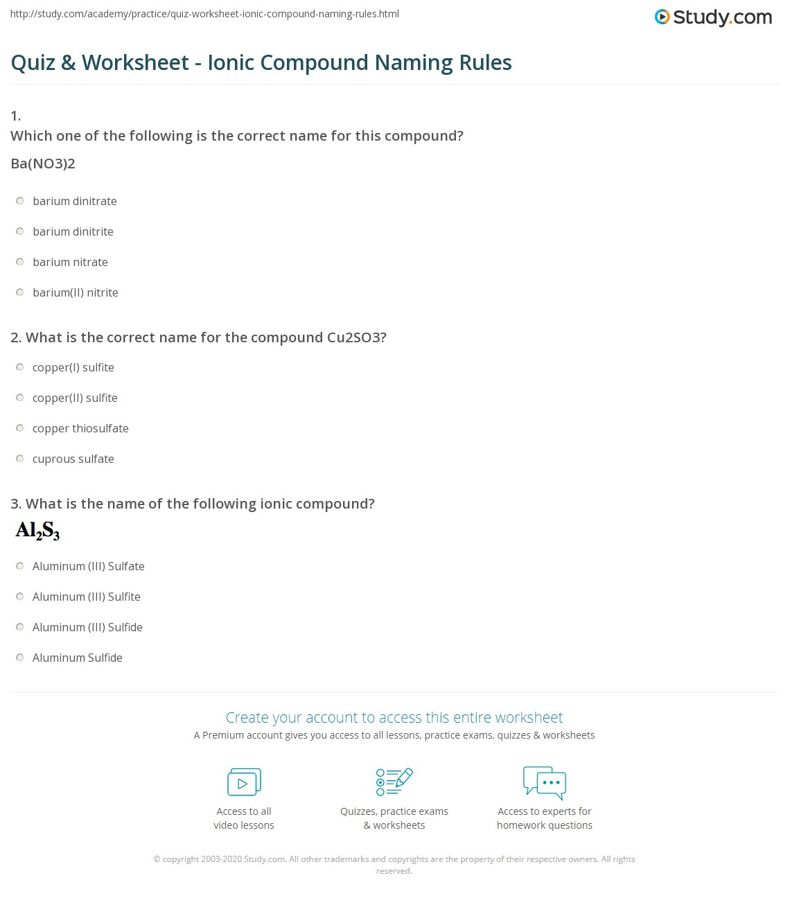 Worksheet Names Of Ionic Compounds Delibertad – Naming Chemical Compounds Worksheet