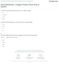 Quiz & Worksheet - Irregular Present Tense Verbs in ...