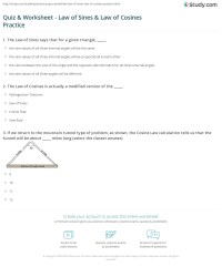 Quiz & Worksheet - Law of Sines & Law of Cosines Practice ...