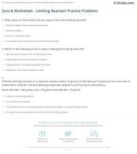 Quiz & Worksheet - Limiting Reactant Practice Problems ...