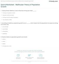 Quiz & Worksheet - Malthusian Theory of Population Growth ...