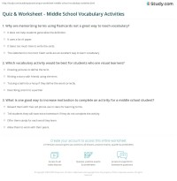 Quiz & Worksheet - Middle School Vocabulary Activities ...