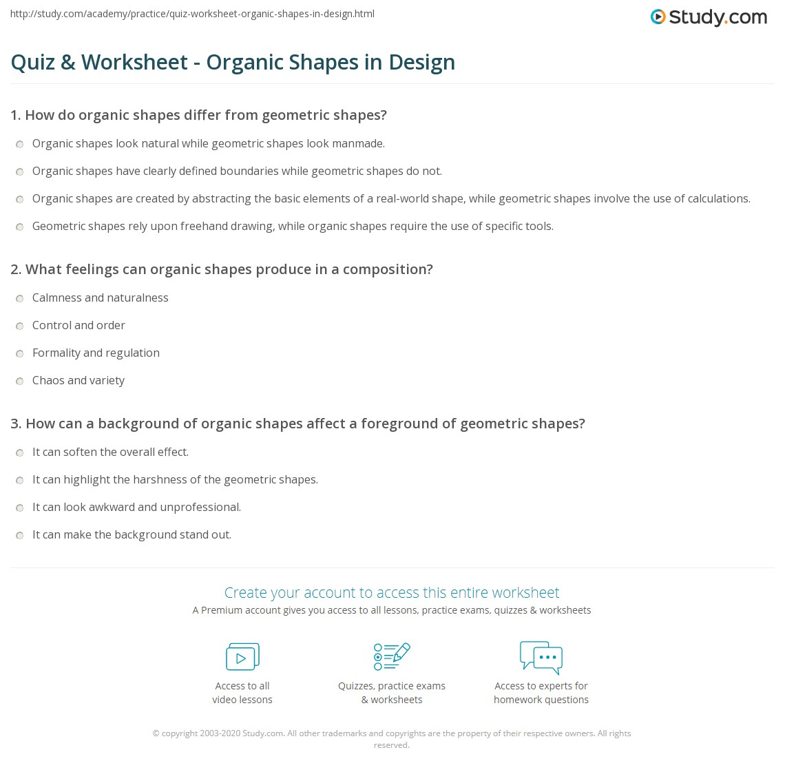 Quiz Worksheet Organic Shapes In Design Study Com