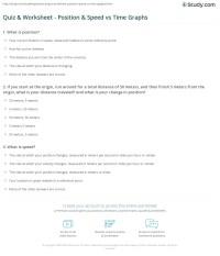 Quiz & Worksheet - Position & Speed vs Time Graphs   Study.com