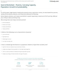Quiz & Worksheet - Poverty, Carrying Capacity, Population ...