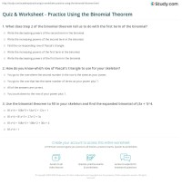 Quiz & Worksheet - Practice Using the Binomial Theorem ...