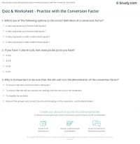Quiz & Worksheet - Practice with the Conversion Factor ...