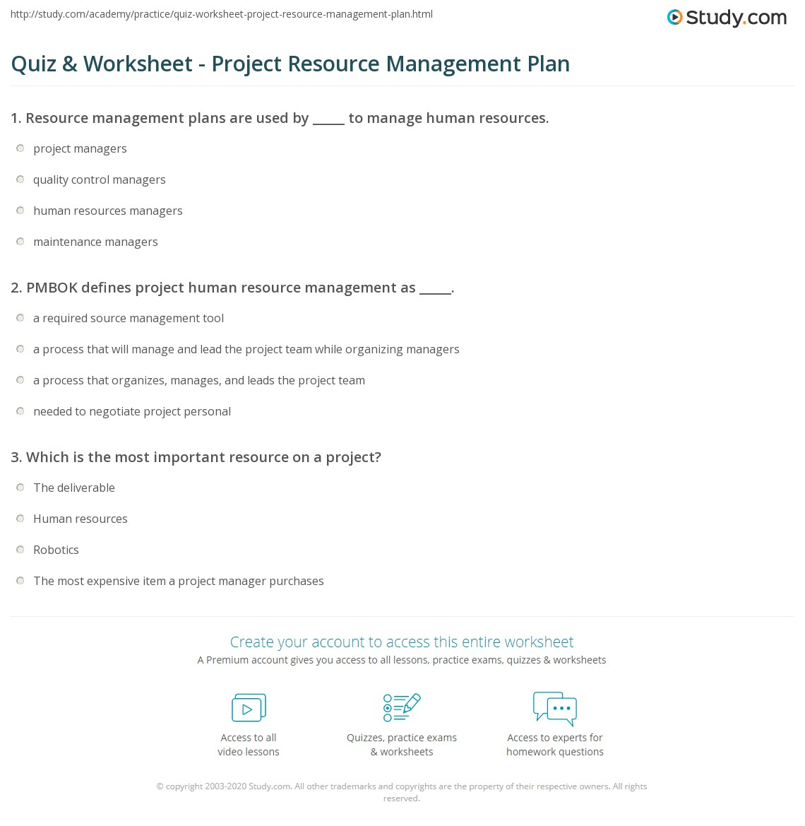 Manage Resource Quiz Worksheet Project Resource Management Plan Study