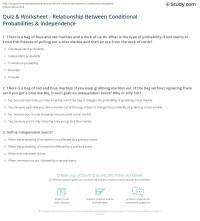 Quiz & Worksheet - Relationship Between Conditional ...