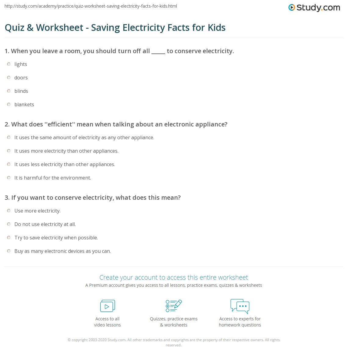 Conserve Electricity Quiz Worksheet Saving Electricity Facts For Kids Study