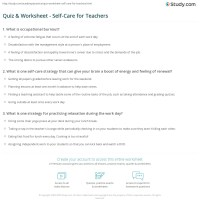 Quiz & Worksheet - Self-Care for Teachers | Study.com