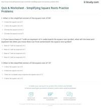 Quiz & Worksheet - Simplifying Square Roots Practice ...