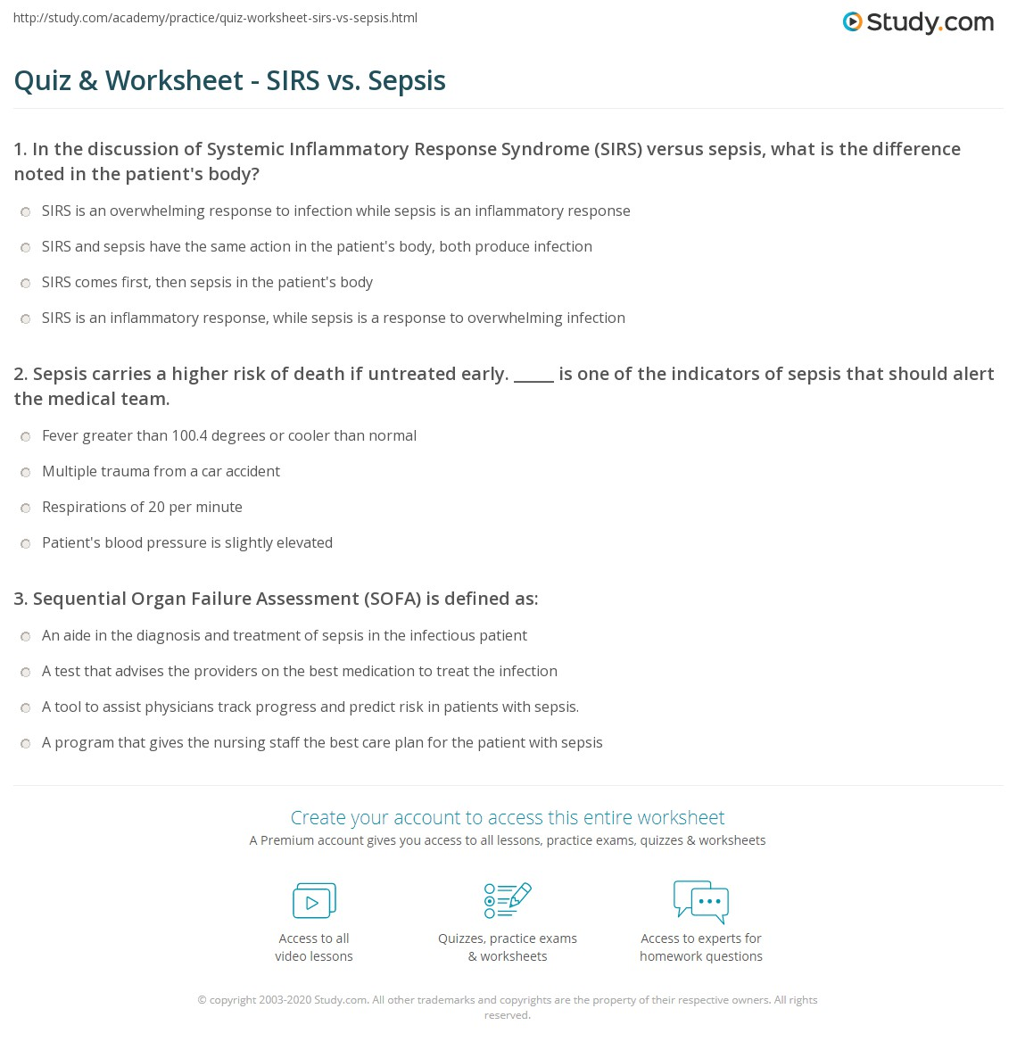 Difference Between Qsofa And Sofa Quiz Worksheet Sirs Vs Sepsis Study