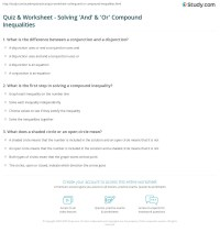 Quiz & Worksheet - Solving 'And' & 'Or' Compound ...