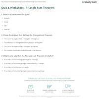 Quiz & Worksheet - Triangle Sum Theorem | Study.com