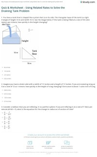 Quiz & Worksheet - Using Related Rates to Solve the ...