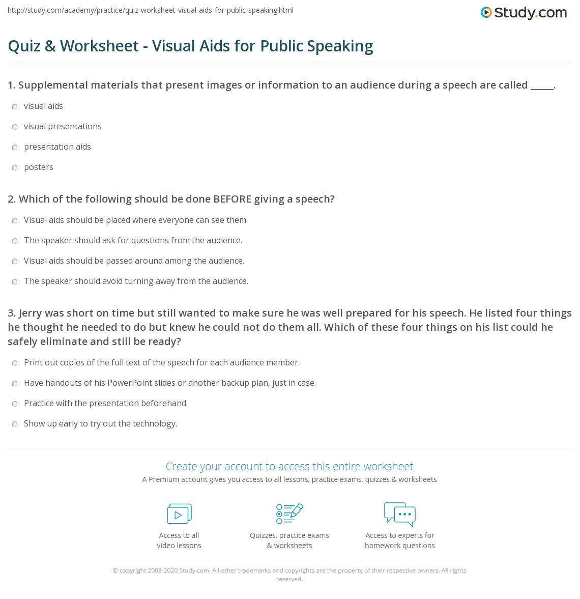 Public Speech Tips Quiz Worksheet Visual Aids For Public Speaking Study