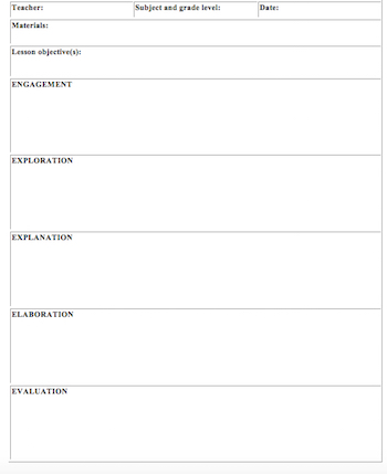 5E Lesson Plan Template for Math Study - lesson plan outline