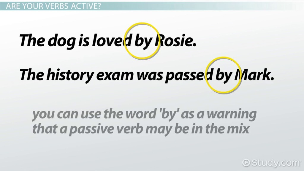 Active Verbs Definition  Examples - Video  Lesson Transcript - active verbs