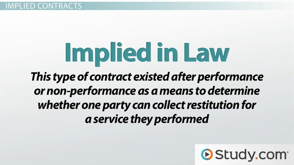 Expressed vs Implied Contracts Differences  Examples - Video - business contract example