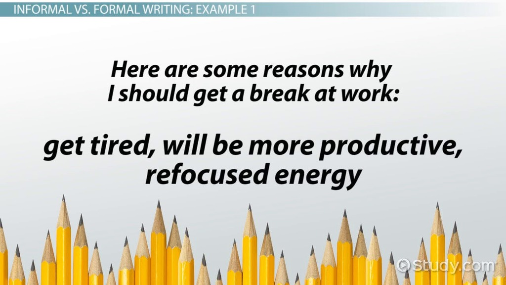 Formal Writing Definition, Rules  Examples - Video  Lesson