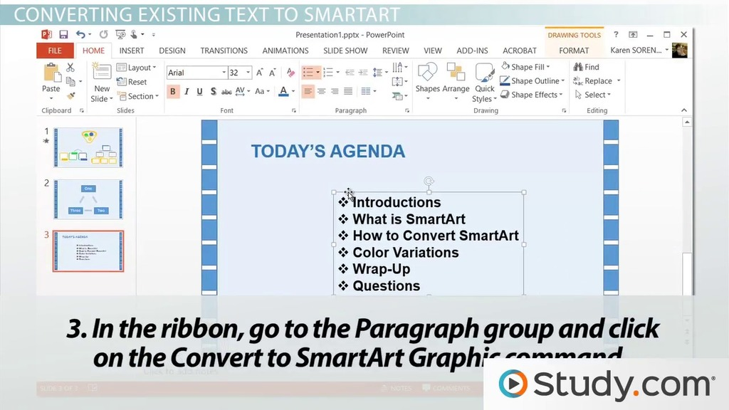 How to Convert Text to SmartArt in PowerPoint - Video  Lesson - smartart powerpoint template
