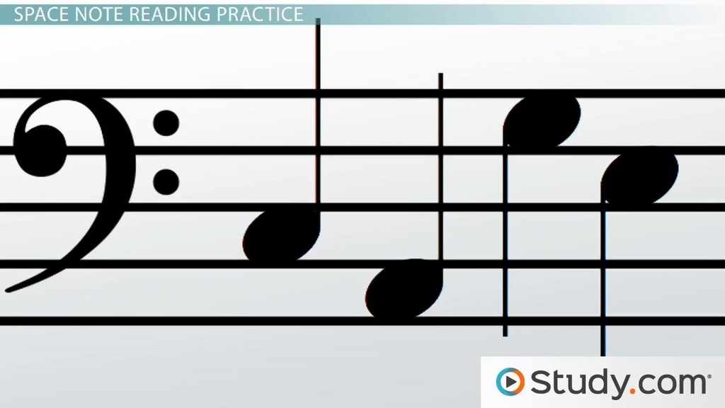 How to Read Notes of the Bass Clef Staff - Video  Lesson Transcript - base cleff
