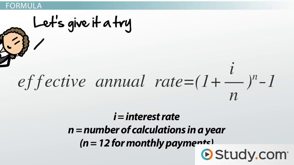 Effective Annual Rate Formula  Calculations - Video  Lesson - annual interest rate formula